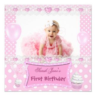 Erstes Geburtstags-1. Mädchen-rosa Baby-Tupfen Quadratische 13,3 Cm Einladungskarte