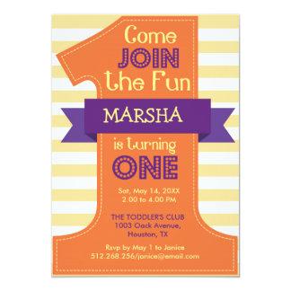 Erstes Geburtstags-Mädchen-orange 12,7 X 17,8 Cm Einladungskarte