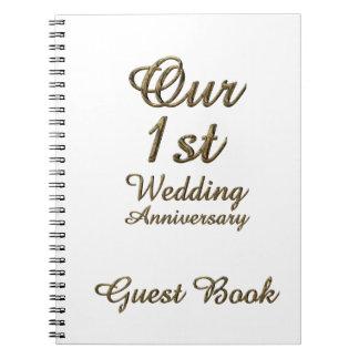 Erstes Hochzeitstag-Gast-Buch-Goldweiß Notizblock