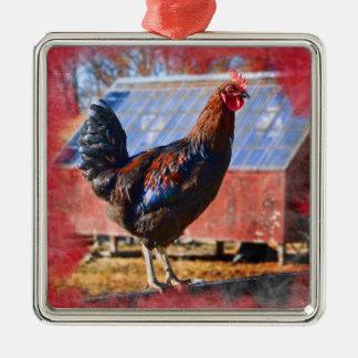 Erstklassige Metallverzierung mit Hahn im Barnyard Quadratisches Silberfarbenes Ornament