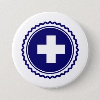 Erstversorger-blaues Gesundheitswesen-Kreuz Runder Button 7,6 Cm