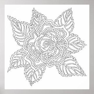 Erwachsen-Farbton-Rosen-Farbe der Blumen-020617 Poster