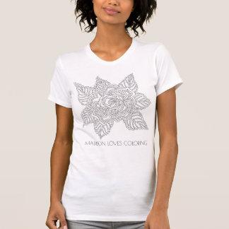 Erwachsen-Farbton-Spaß-Mode-Rose der Blumen-020617 T-Shirt