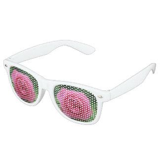 Erwachsene Retro Party-Schatten, weiße Rosen Makro Retro Sonnenbrillen