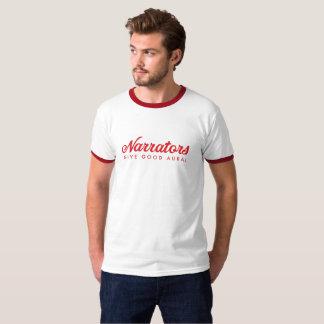 Erzähler geben gute Ohrenweckerfront/hinteres Rot T-Shirt