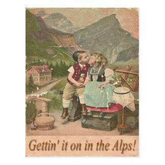 Es an in der Schweizer Alpen-Vintagen Postkarte er