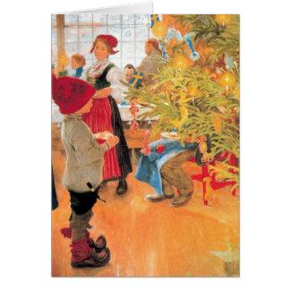 Es ist der Weihnachtszeit-wieder - Junge, der Baum Karte