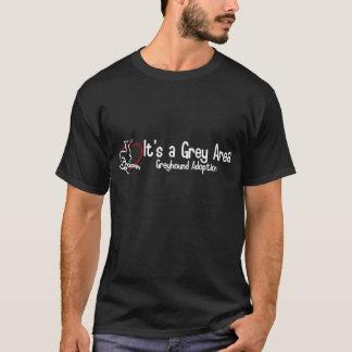 Es ist ein grauer Bereichs-breites Logo-Shirt - T-Shirt