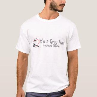 Es ist ein grauer Bereichs-breites Logo-Shirt T-Shirt