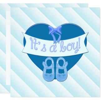 Es ist ein Junge blaues Herz-Schuh-Baby, das Karte
