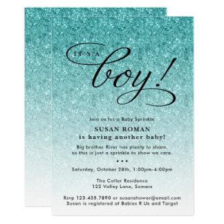 Es ist ein Junge, den blaues Ombre Glitzer-Baby 12,7 X 17,8 Cm Einladungskarte