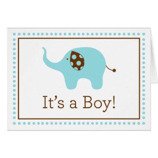 """""""Es ist ein Junge!"""" Elefant-Anmerkungs-Karte Karte"""