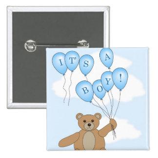 Es ist ein Junge Teddybär Quadratischer Button 5,1 Cm