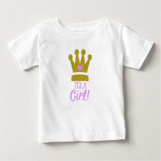 Es ist ein Mädchen-Baby-Glitter-Goldtiara-Baby-T - Baby T-shirt