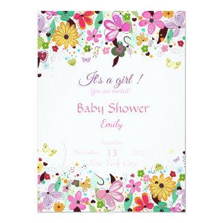 Es ist ein Mädchen. Babypartyblumeneinladungskarte Karte