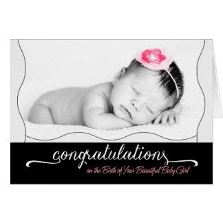 Es ist ein Mädchen! Neue Baby-Glückwünsche für Karte