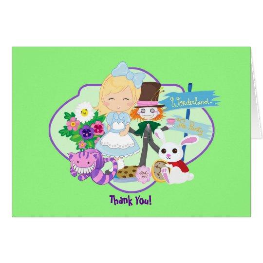 Es ist ein Märchenland-Geburtstags-Tee-Party dankt Mitteilungskarte