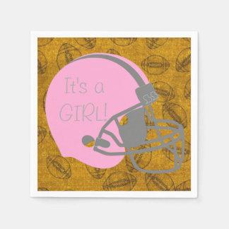 Es ist eine Mädchen-Fußball-themenorientierte Serviette