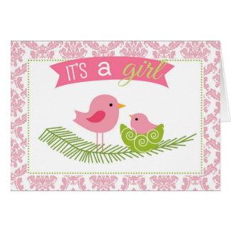Es ist eine Mädchen-Gruß-Karte - Damast-Vogel mit Karte