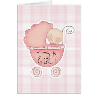 Es ist eine Mädchen-Rosa-Baby-Buggy-Glückwünsche Karte