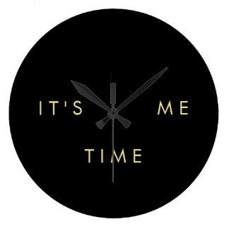 Es ist ich Zeit-elegantes Gold auf Schwarzem Wanduhr