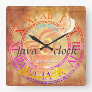 """""""Es ist immer Java-Uhr! """" Quadratische Wanduhr"""