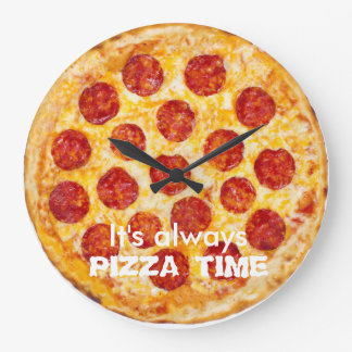 Es ist immer PIZZA-ZEIT Große Wanduhr