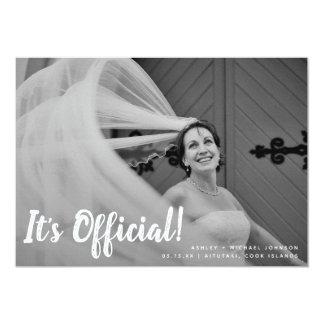 Es ist offizielle die 2 Foto-Hochzeits-Mitteilung Karte