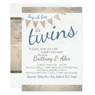 Es ist Zwillinge! Babyparty-Einladung Karte