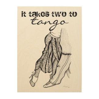 Es nimmt zwei zum Tangozitat Holzleinwände