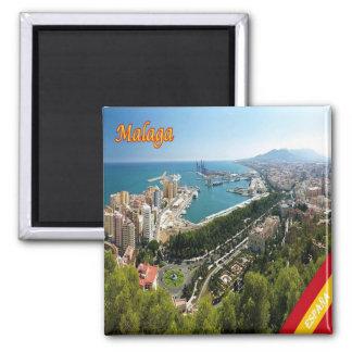 ES - Spanien- - Màlaga-Panorama Quadratischer Magnet