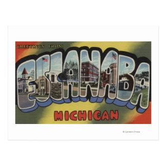 Escanaba, Michigan - große Buchstabe-Szenen Postkarte