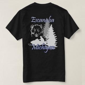 Escanaba Michigan Schwarzes des Snowmobile-Bärn-SS T-Shirt