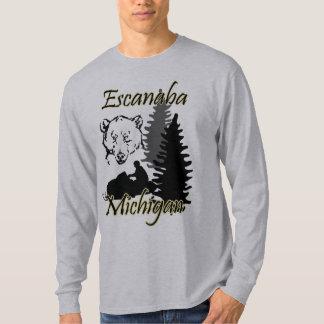 Escanaba Michigan Snowmobile-Bär LS-Grau T-Shirt