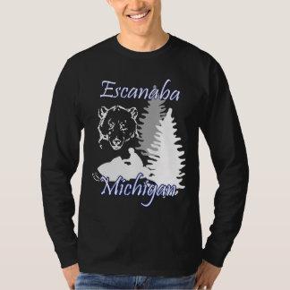 Escanaba Michigan Snowmobile-Bär LS-Schwarzes T-Shirt
