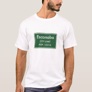 Escanaba Michigan Stadt-Grenze-Zeichen T-Shirt