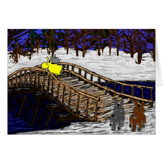 Esel, die über Brücke im Schnee gehen Grußkarte