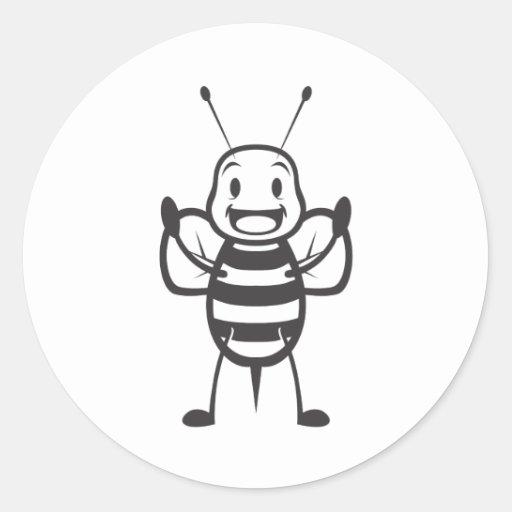 Espiègle mignon heureux d'abeille gaie adhésif rond