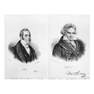 Esprit Auber und Ludwig van Beethoven Postkarte