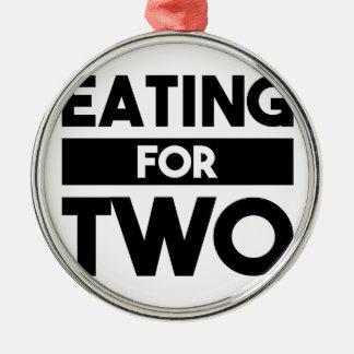 Essen für zwei silbernes ornament