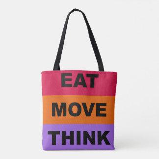 Essen Sie Bewegung denken bunte Taschen-Tasche Tasche