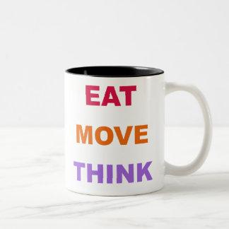 Essen Sie Bewegung denken Tasse