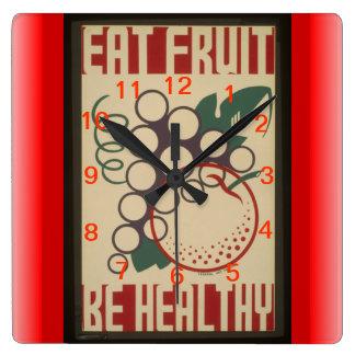 Essen Sie Fruchtuhr Quadratische Wanduhr