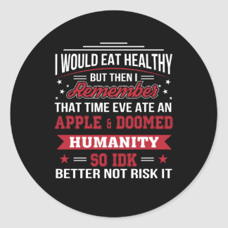 Essen Sie gesundes Eve aß Diät Apples so besser Runder Aufkleber