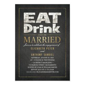 Essen Sie Getränk-Goldeffekt-lustiges 12,7 X 17,8 Cm Einladungskarte