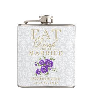 Essen Sie, Getränk und seien Sie - lila Blumen Flachmann