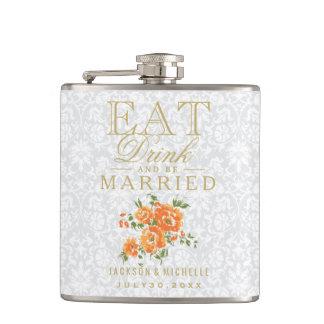 Essen Sie, Getränk und seien Sie - orange Blumen Flachmann