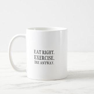 Essen Sie nach rechts. Übung Kaffeetasse