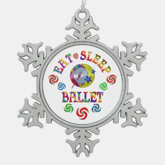 Essen Sie Schlaf-Ballett Schneeflocken Zinn-Ornament