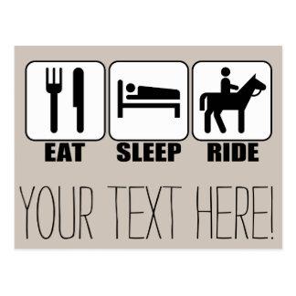 Essen Sie Schlaf-Fahrt ein Pferdereiter-Reiten Postkarte